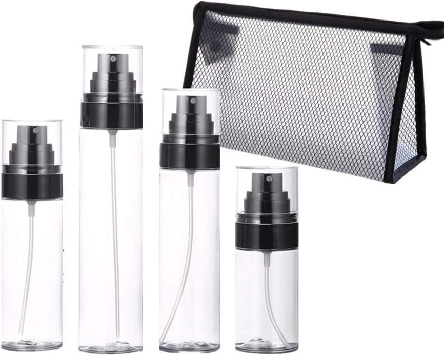 Botellas vacías de plástico con bolsa de malla rellenable para aceites esenciales, productos de limpieza o aromaterapia – Set de botellas de pulverizador y flujo duradero