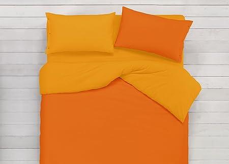 Piumone Matrimoniale Arancione.Biancheriaweb Copripiumino In 100 Cotone Double Face Arancione