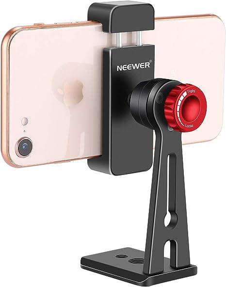 Neewer Metal Soporte de Teléfono Clip Adaptador de Montaje Trípode Mesa para iPhone X 8 8plus 7 7plus,Samsung S9 S8,Huawei P9 Smartphone 5,6-8,9cm, Soporte Deslizante para Trípode con Cabezal Esférico: Amazon.es: Electrónica