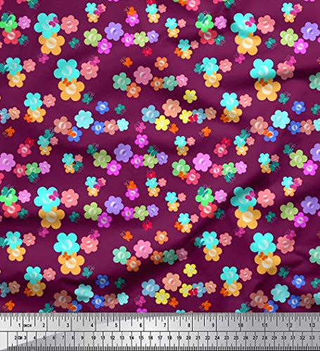Soimoi Pink Silk Fabric Butterfly & Floral Clip Art Printed Fabric 1 Yard 42 Inch Wide