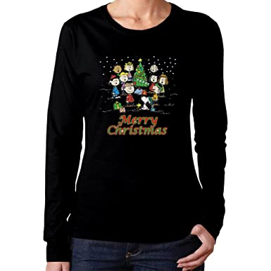 Amazon.com: Women's Gang Charlie Brown Snoopy Merry Christmas T ...
