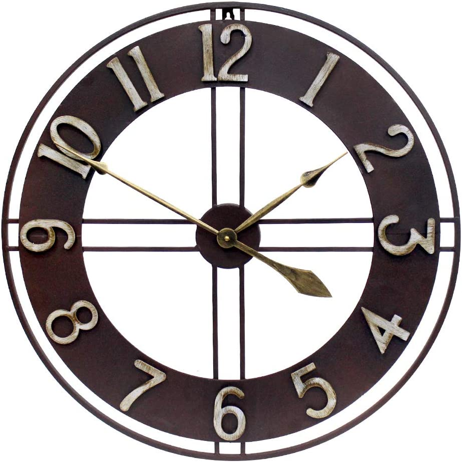 Growsun 30 inch Large Wall Clock Pure Metal Retro Heavy Duty Large Decorative for Home Living Room Farmhouse