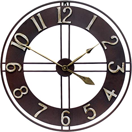 Growsun 30 Inch Large Wall Clock Pure Metal Retro Heavy Duty Large Decorative Decor For Home Living Room Farmhouse Kitchen Dining