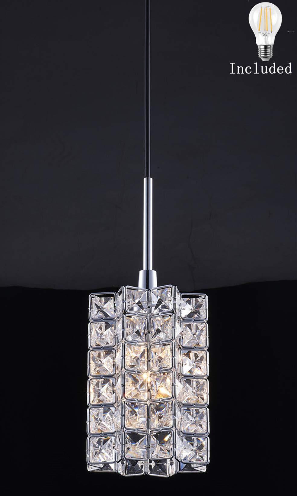 Smart Lighting-Shupregu 1-light pendant lighting, Crystal mini pendant light fixtures,Chrome finish crystal pendant lamp, for Kitchen Island, Dining room, Cafe,Bar,Dimmer LED bulb Included
