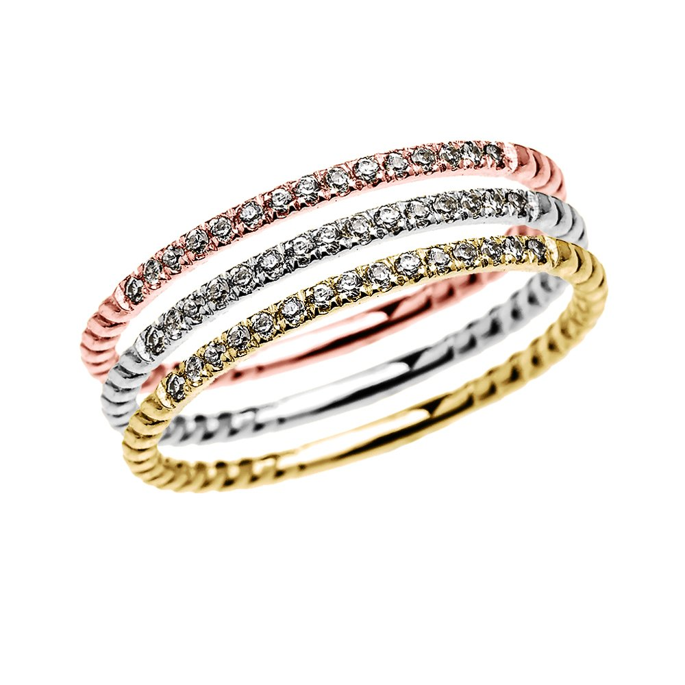 Tri Color Gold Dainty Diamond Rope Design Stackable Rings (Size 4.25)