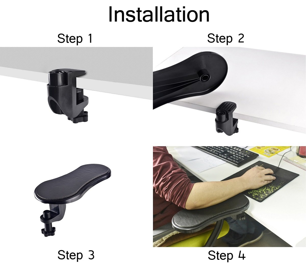 Ergonomic Adjustable PC Wrist Rest Extender Desk Attachable Home Office Mouse Pad Health Care Arm Support Rotating Computer Arm Rest Pad