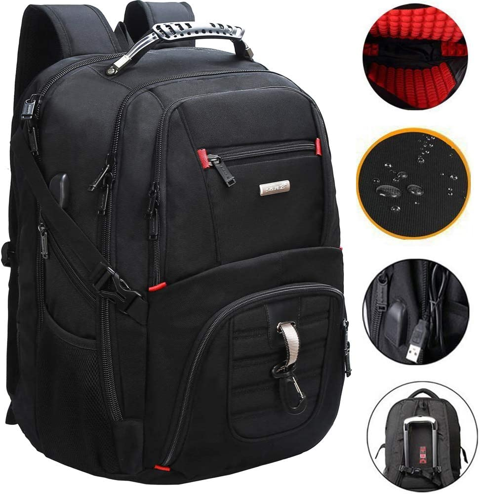 Extra Large Travel Laptop Backpack TSA Durable College School 18.4 Inch Computer Bookbag with USB Charging Port