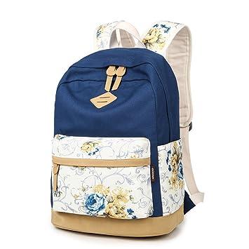 Q.KIM Flores Moda Lona Backpack Mochilas Escolares Mochila Escolar Casual Bolsa Viaje Mujer,Azul marino: Amazon.es: Equipaje