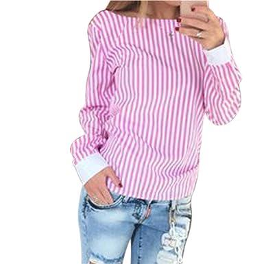 QIYUN.Z Camisa de Gasa de Manga Larga para Mujer Raya sin Respaldo Blusa Camisas Tops (Rosa 3XL): Amazon.es: Ropa y accesorios