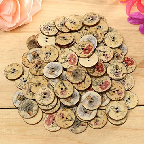 Wood Bloom Push Button - 100pcs Mixed Color Wooden Flower Sewing Button Diy Craft Bag Hat Cloth Decoration - Peak Clitoris Awkward Efflorescence Woody Blossom Clit