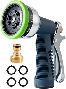 YUESUO Garden Hose Nozzle, Heavy Duty High Pressure Hose Spray Nozzle with 9 Adjustable Patterns Rear Trigger Design Water Hose Nozzle, Hose Nozzle for Washing Cars, Watering Garden, Showering Pets