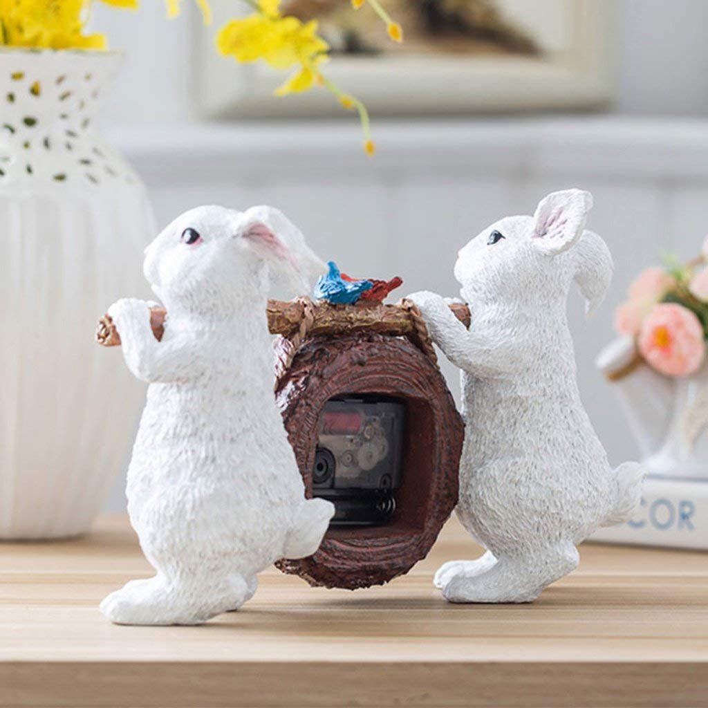 WEI Table Clock Small Clock European Style Bedside Clock Fashion Creative Clock Bedroom Clock Quiet Seat Bell Decoration