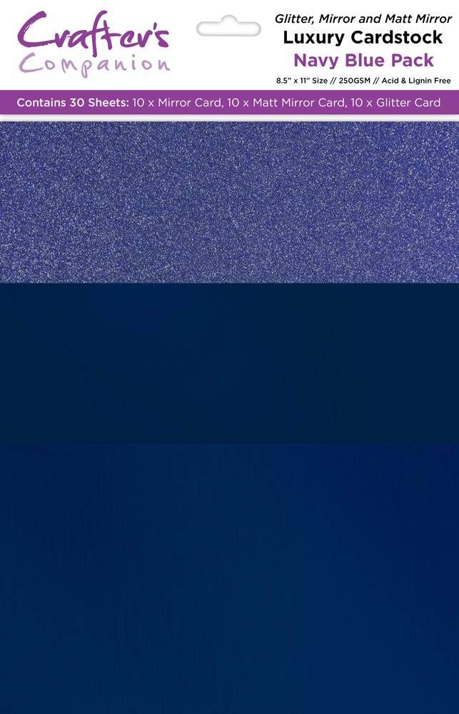 Crafter's Companion CP-LMIX-NBLU811 Mixed Card Pack-Navy Blue Luxury Cardstock, by Crafter's Companion
