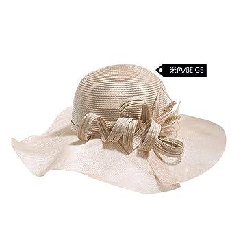 CFHJN Home Vacaciones en la Playa Sombrero para el Sol Mujer Sombrero  Grande Protector Solar Playa d138f7cba5b2