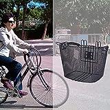 Shantan Handlebar Basket Double Hook Portable Shopping Baskets Front Bicycle Universal Hooks Box Rust