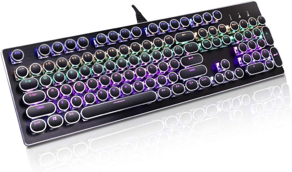 Teclado mecánico para juegos, teclado mecánico GEEKLIN Steampunk retro, teclado mecánico con cable RGB Multimedia Gaming, teclado 104 juegos clave con ...