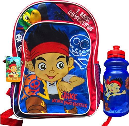 Jake and the Neverland Pirates I Seek Adventure Children's Backpack with Cute Jake and the Neverland Pirates Pull-top Water -