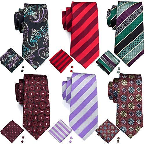 Check Woven Silk Tie - Barry.Wang Mens Tie Set Silk Woven Wedding NecktiesFormal Business