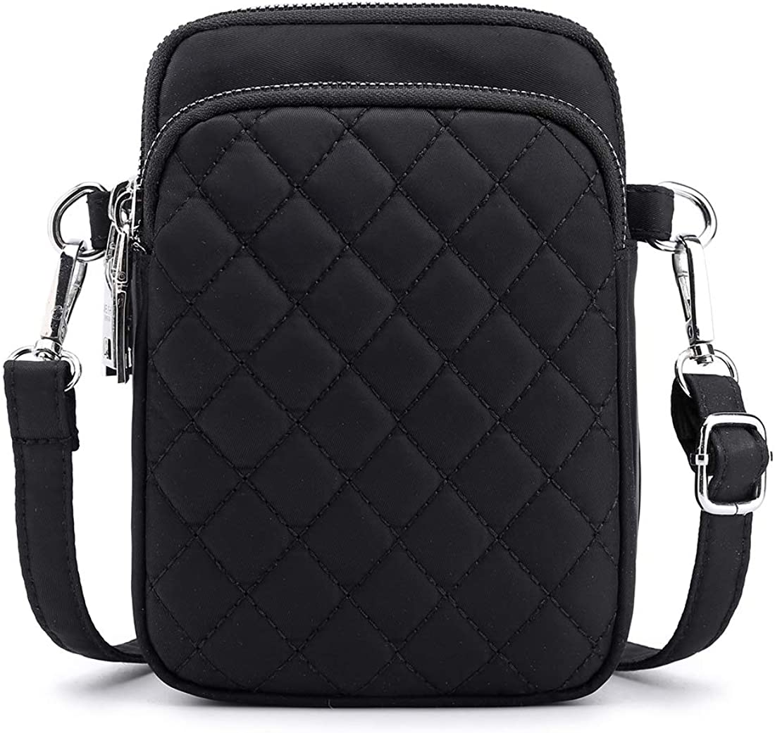 Collsants Small Crossbody Purse Mini Nylon Travel Shoulder Bag Multi Zipper Pockets