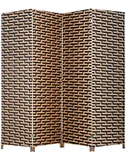 Roll Over Image to Zoom in FDW Room Divider Wood Screen 4 Panel Wood Mesh Woven Design Room Screen Divider Folding Portable Partition Screen Screen Wood for Home Office
