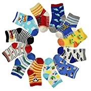 12 Pairs Anti Slip Baby Kids Socks Ankle Toddler Non-skid Soft Cotton Assorted Boys Girls Walkers Socks
