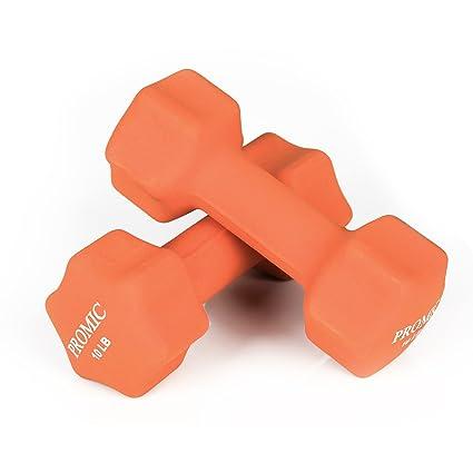 Promic Mancuernas de vinilo de 0,45 a 9 kg con agarre antideslizante para ejercicios