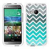 HTC One Remix Chevron Grey Green Turquoise on White Case