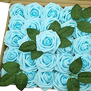 J-Rijzen Jing-Rise Fake Light Blue Rose 50pcs Artificial Flowers Baby Shower Floral Decorations Bridal Shower Centerpieces Wedding Bouquet Rose Kissing Ball Supplies(Light Blue) 39