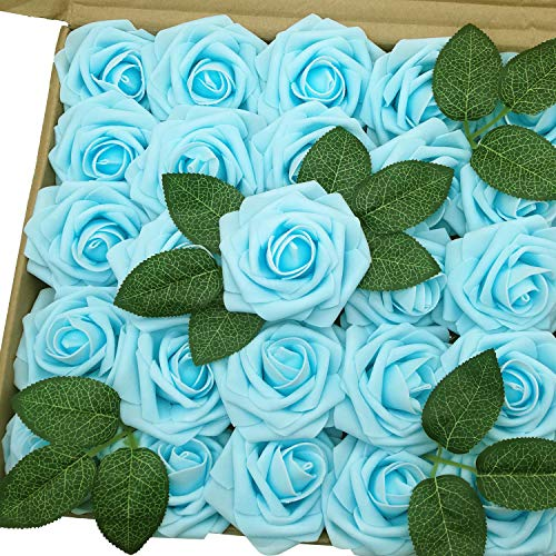 - J-Rijzen Artificial Flowers 50pcs Real Touch Light Blue Fake Roses with Stem for Baby Shower Floral Bridal Shower Centerpieces Wedding Bouquet Home Decorations (Light Blue)