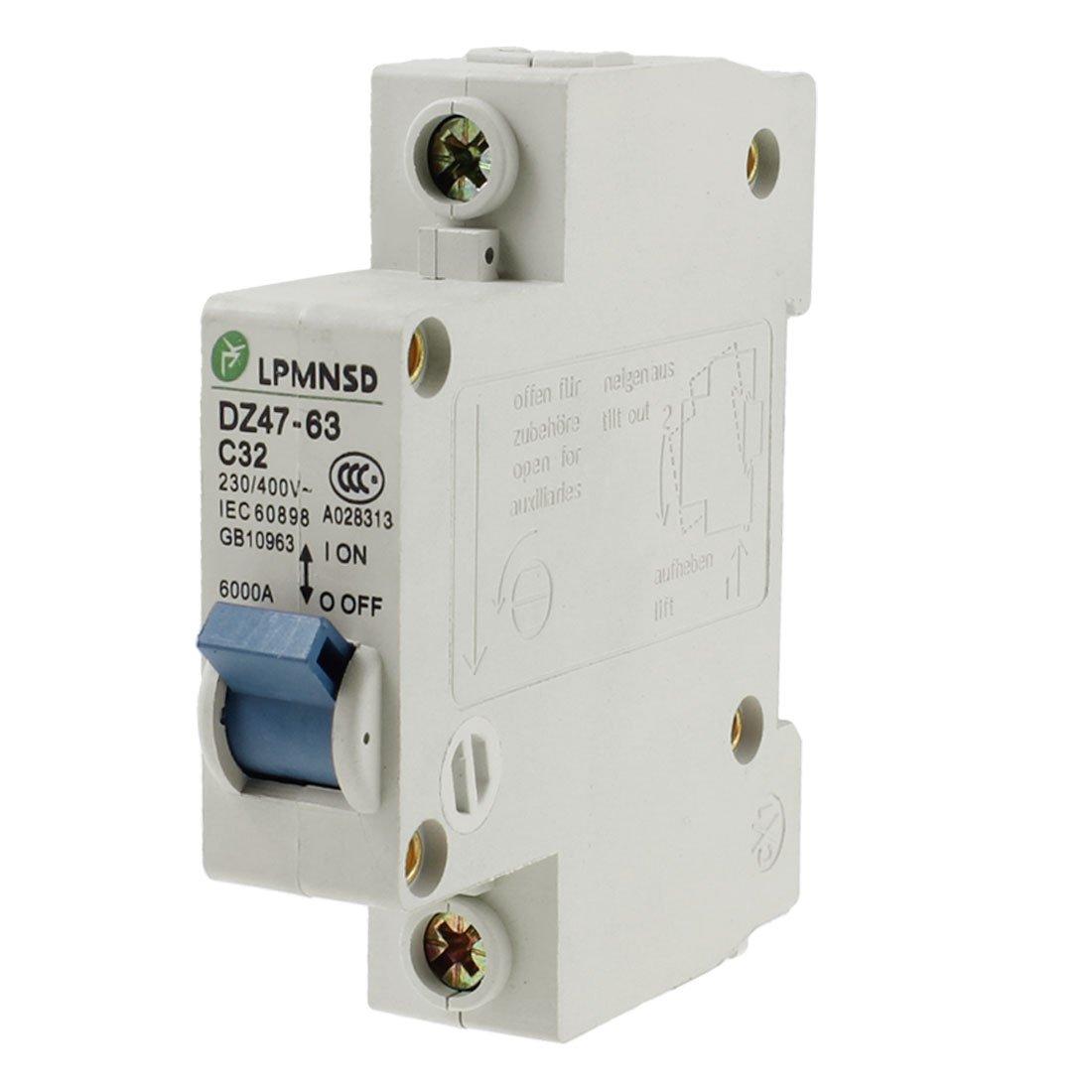Uxcell Ac 230v 400v 32a Dz47 63 C32 1 Pole Mcb Miniature Circuit 220v 2 63a Mini Breaker Buy Industrial Scientific