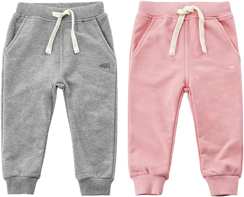 Toddler Baby Boys Girls Sweeatpants Cotton Pure Color Bear Active Jogger Pants with Drawstring 1-6T