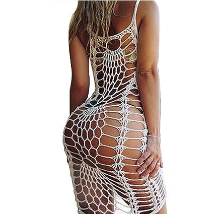 9d7aac0952 Amazon.com: Women's Vintage Crochet Lace Bikini Swimsuit Cover Ups Short  Hollow Out Beach Dresses: Garden & Outdoor