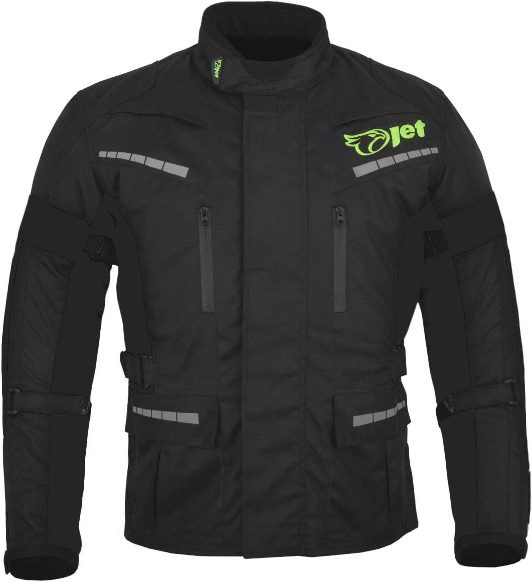 negro completo, 7XL Jet Black Fluro Textile 54-56 pulgadas Chaqueta de moto impermeable con blindaje CE