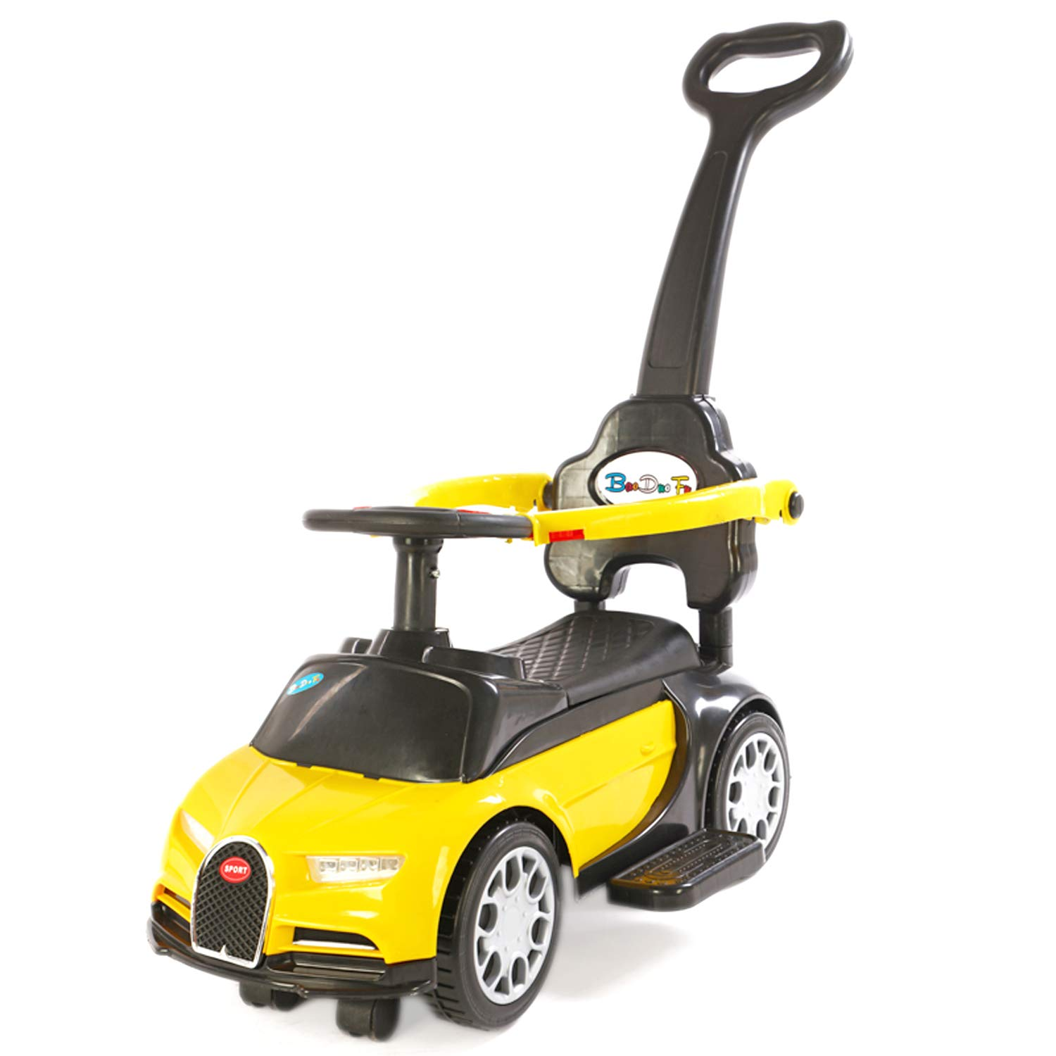 Toyhouse Foot to Floor Bugatti Push Car with Removable Push Handle for Kids (1 to 3yrs), Yellow