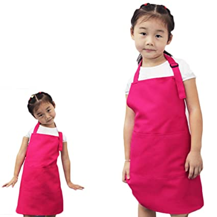 Kids Painting Baking Cooking Kitchen Playing Bib Apron Colorful Waterproof  Poly Art Smock with 2 Pockets,Children Artist Apron & Chef Apron (Rose)