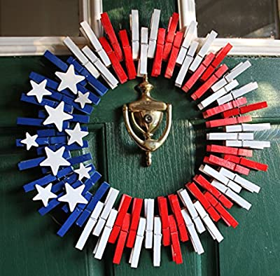 """16"""" American Flag 4th of July Fourth Wreath for Front Door or Patriotic Party Decoration"""