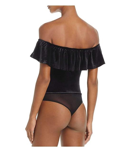 Image Unavailable. Image not available for. Color  Cotton Candy Women s Black  Velvet Off-The-Shoulder Bodysuit ... 5a658d216