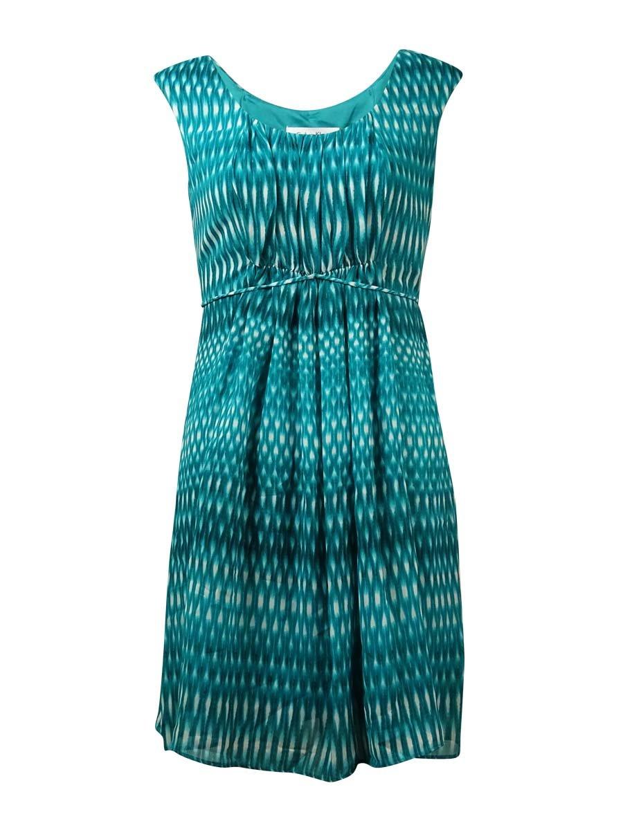 Calvin Klein Women's Pleated Printed Crepe Dress (16W, Lagoon Multi)