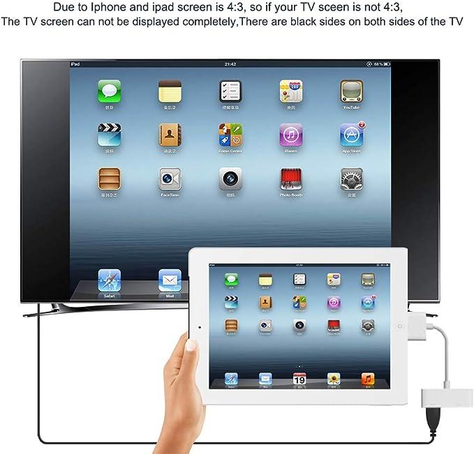 okdeals - Cable Adaptador HDMI para iPad 2, 3, iPhone 4, 4S, iPod (1080p, Conector de 30 Pines): Amazon.es: Electrónica