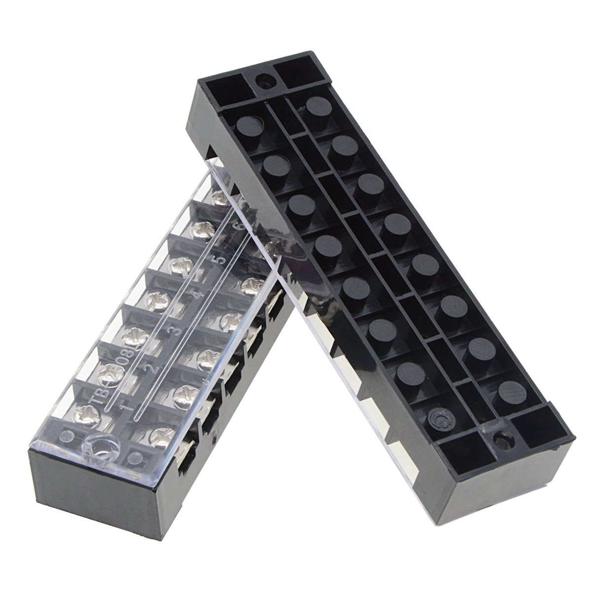YXQ 3 Pcs 8 Position Double Rows Wire Block Barrier Screw Terminal Covered Strip 600V 25A TB 2508 Terminal Strip