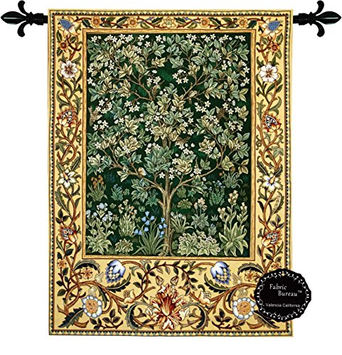 Beautiful Tree of Life (G) By William Morris Fine Tapestry Jacquard Woven Wall Hanging Art (Italian Tapestry Wall Hanging)