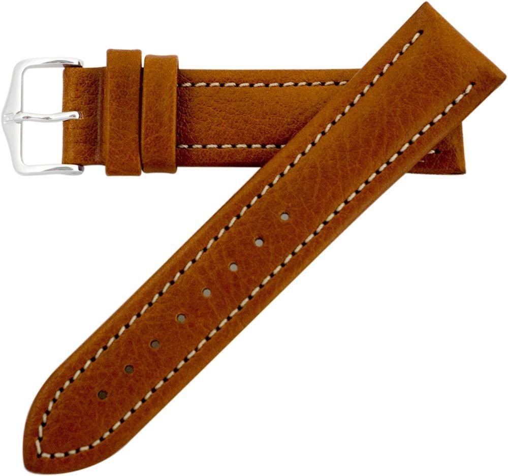 Hirsch Buffalo Artisan Leather Watch Band Strap Gold Brown 22mm Short