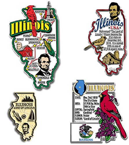 Illinois Four-Piece State Magnet Set