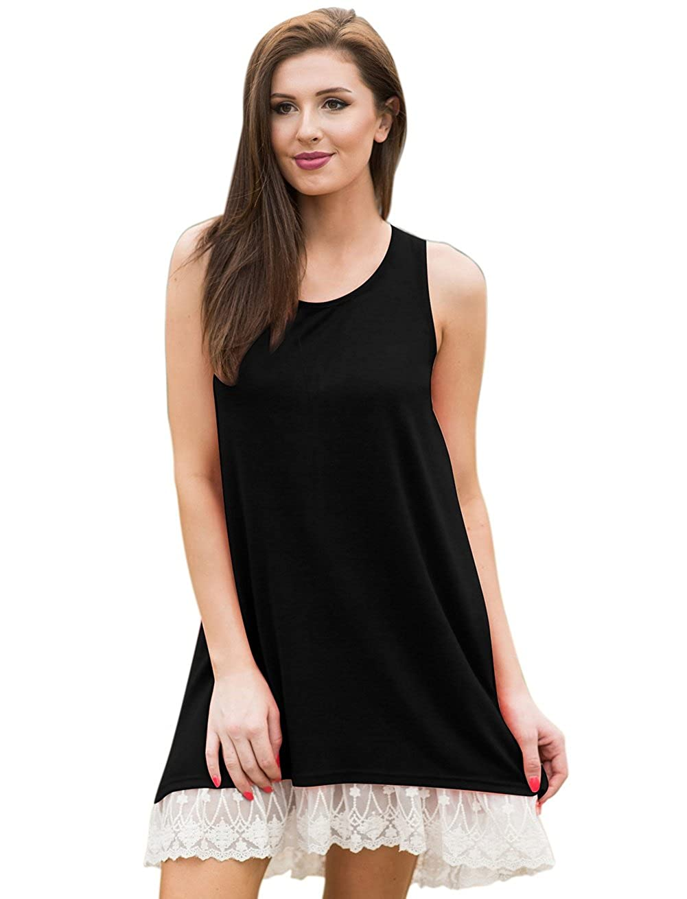 166f3e1616b4 Feature:Lace-trimmed hem,Sleeveless,summer dress, Above Knee Length,Solid  Pattern, Casual Loose Fit, • It is a summer mini dress, but also a long  tunic ...