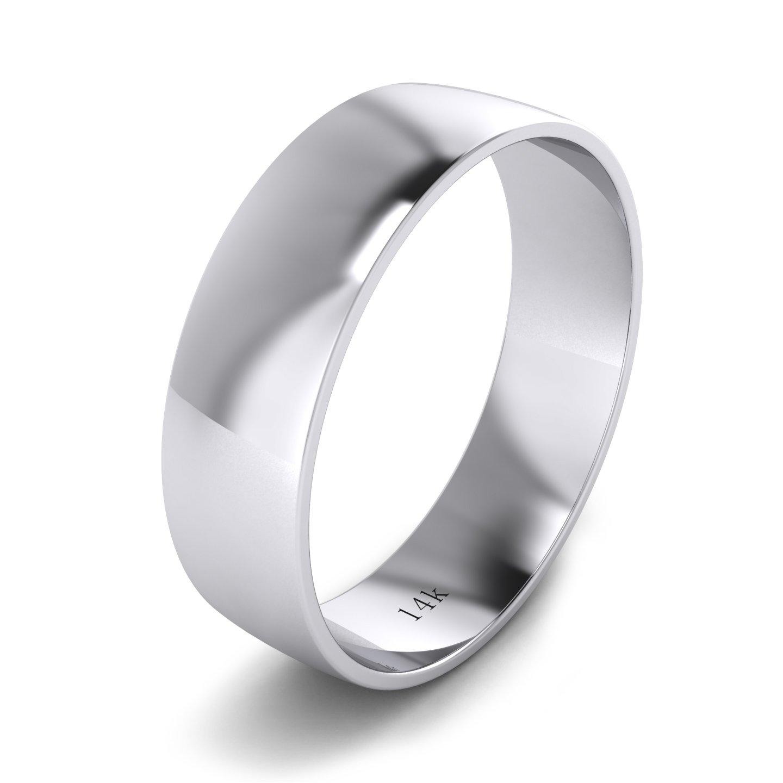 Unisex 14k White Gold 6mm Light Court Shape Comfort Fit Polished Wedding Ring Plain Band (14)