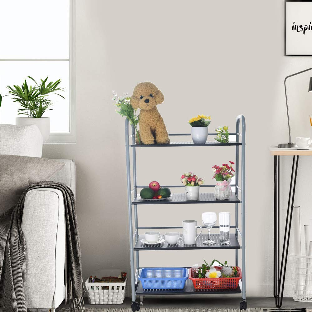 Kariwell Kitchenware 4 Shelf Storage Rack - with Four Smooth Rollers Microwave Oven Holder Wheeled Trolley Suitable for Kitchen, Garage, Bedroom, Laundry or Office Space [ Ship from US ]