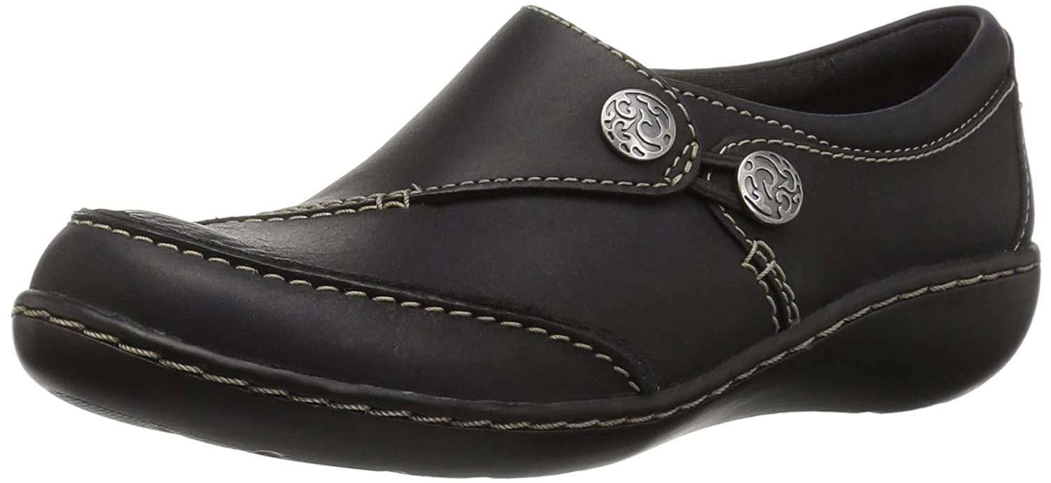 Black Leather Clarks Women's Ashland Lane Q Slip-on Loafer