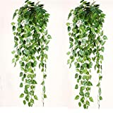 90 CM Real-tuch Artificial Green Ivy Vine Plants Hanging Leaves For Home Room Garden Wedding Garland Outside Decoration 2Pack