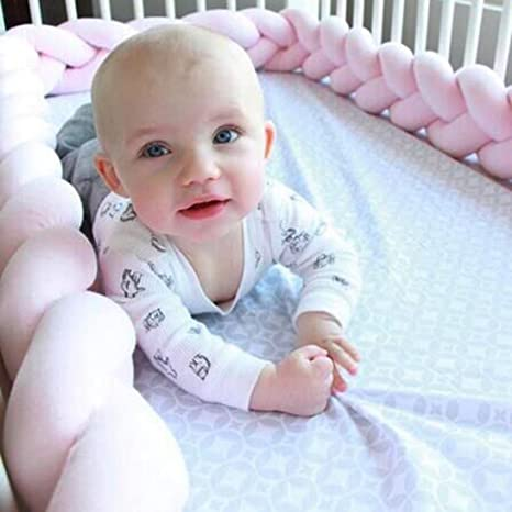 Length: 78.7 Inch, Blue Transer Cotton Rattan Baby Infant Creeping Guardrail Bed Safety Rail Protector Crib Bumper