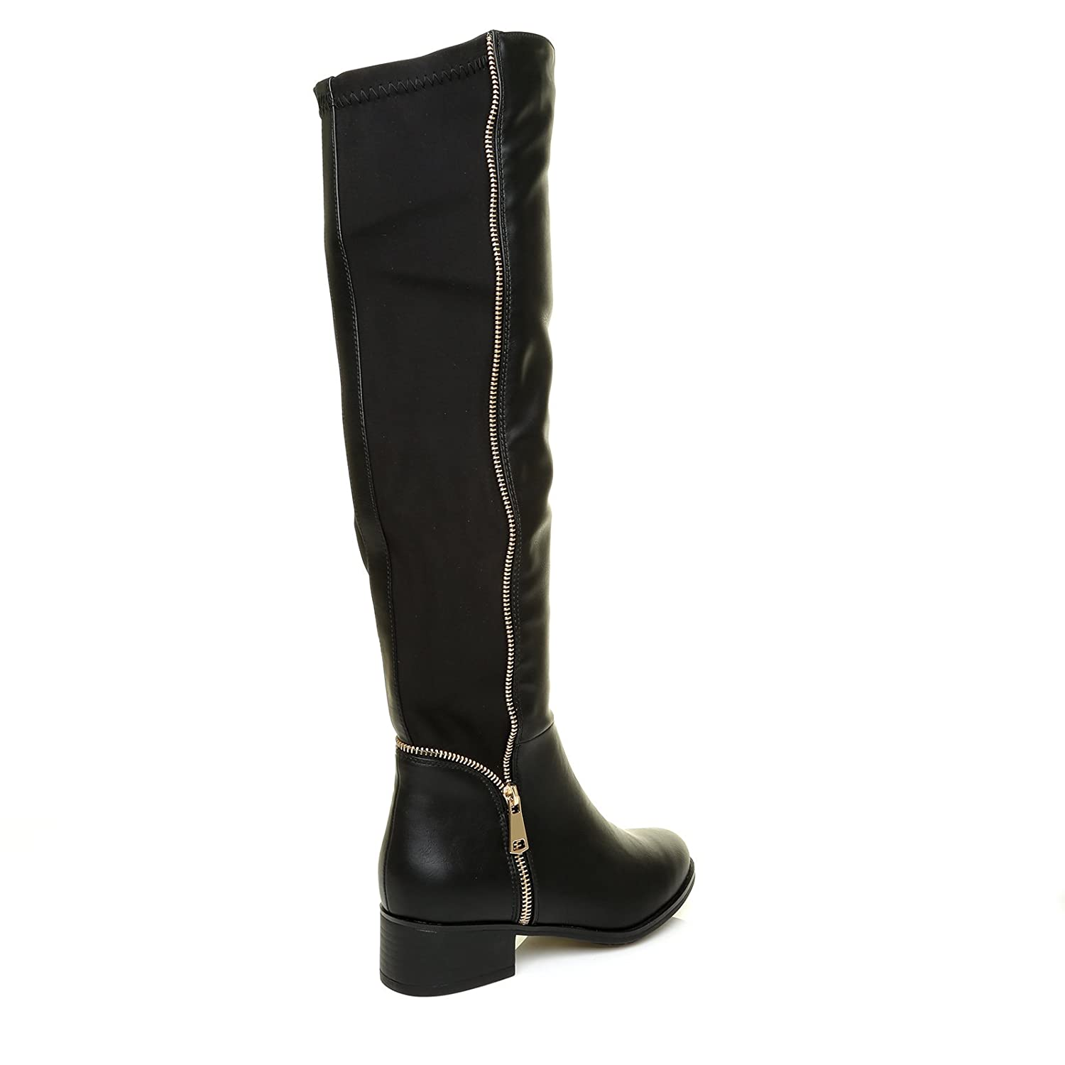 6b491c69ae5a4d ShuWish UK Amber Black PU Leather Elasticated Stretch Riding Boots with  Gold Zip Trim: Amazon.co.uk: Shoes & Bags
